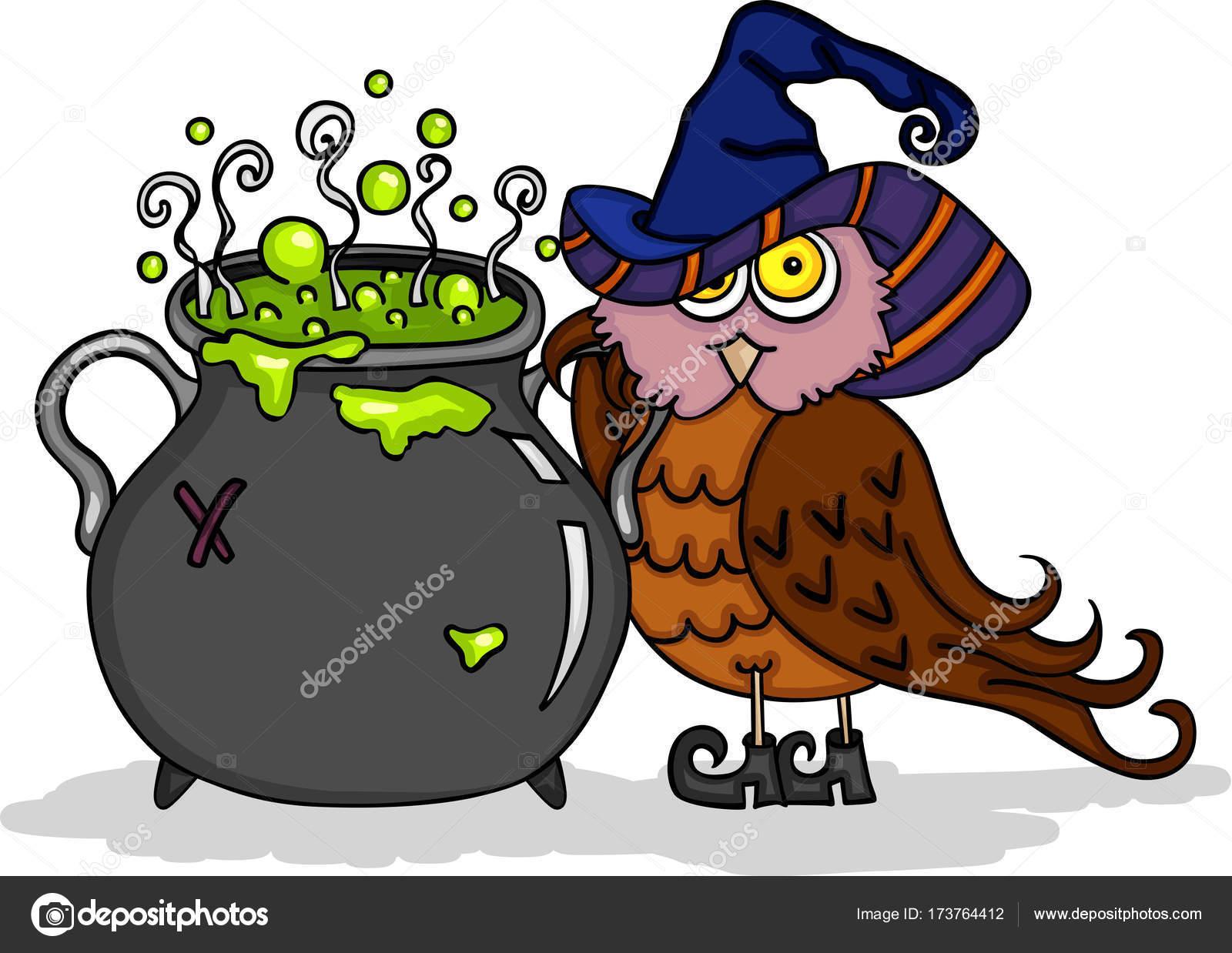 Hibou Mignon Halloween Avec Un Chaudron De Sorcière Image