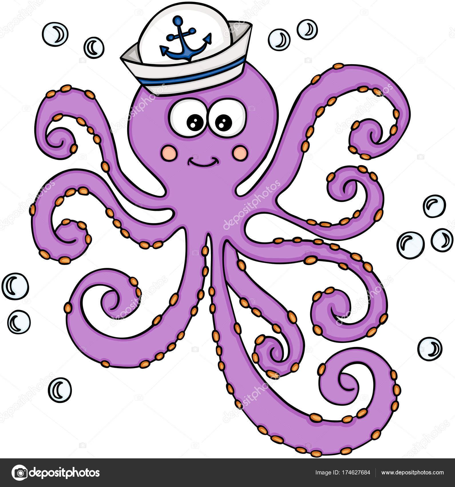 6a2abe59998b2 Imagen vectorial escalable que representa a un pulpo con sombrero de  marinero