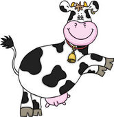 Scalable vectorial representing a cute cow jumping, illustration isolated on white background.