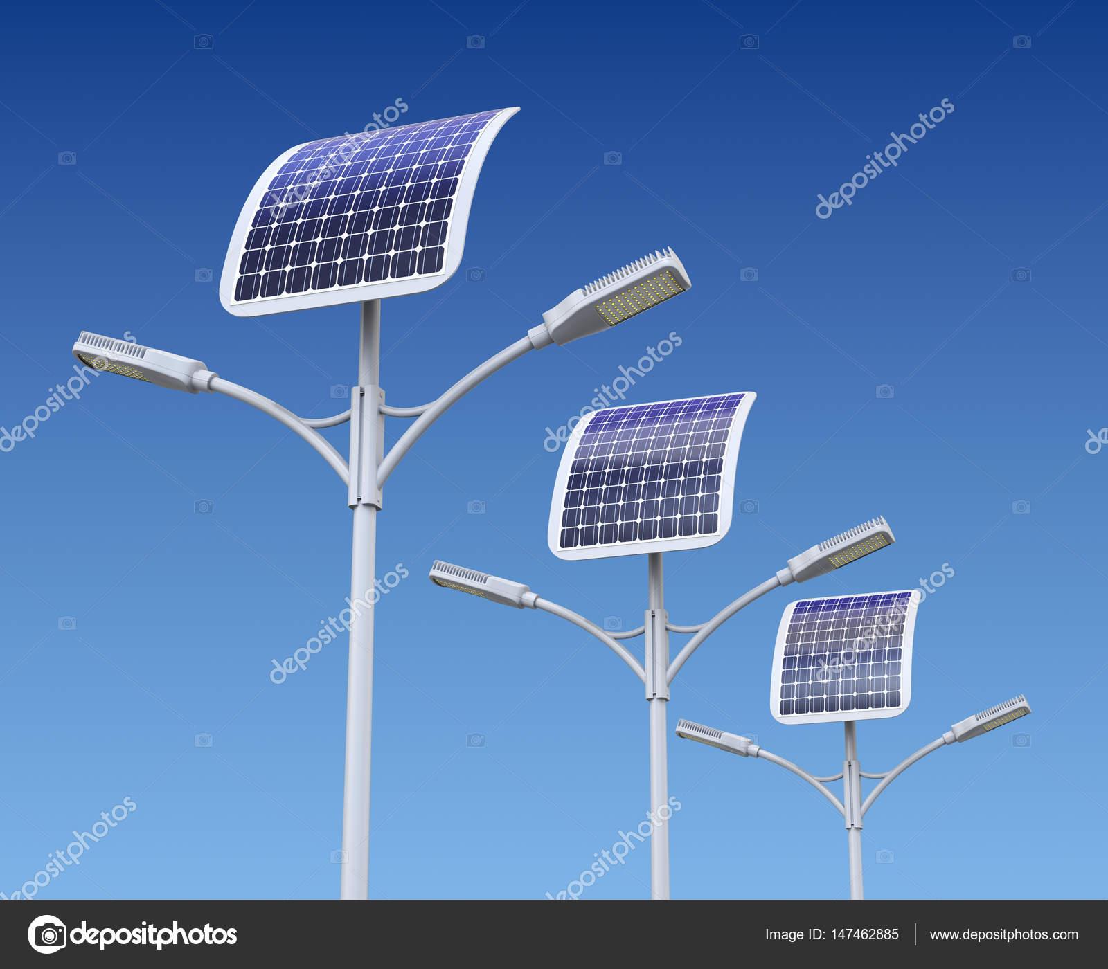 Fila di lampione stradale a led con pannello solare foto for Immagini pannello solare