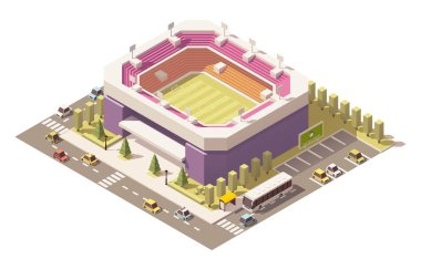 Vector isometric low poly soccer stadium