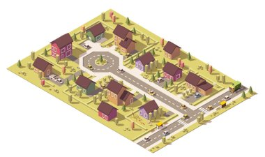 Vector isometric low poly suburb