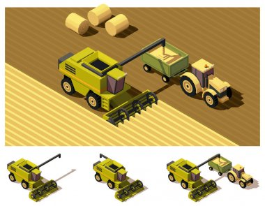 Vector isometric low poly combine harvester mowing