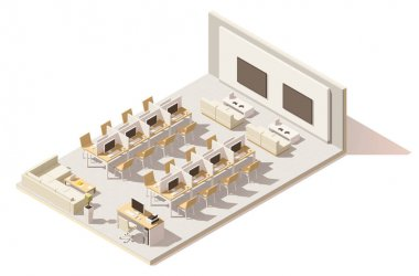 Vector isometric low poly internet cafe