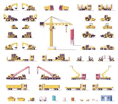 Vector low poly construction machinery
