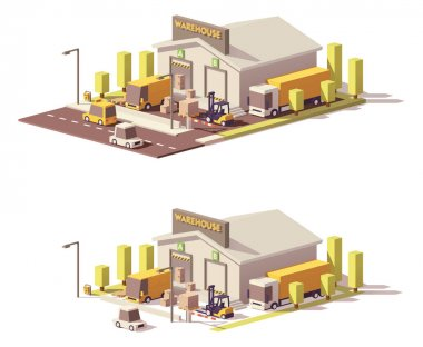 Vector low poly warehouse