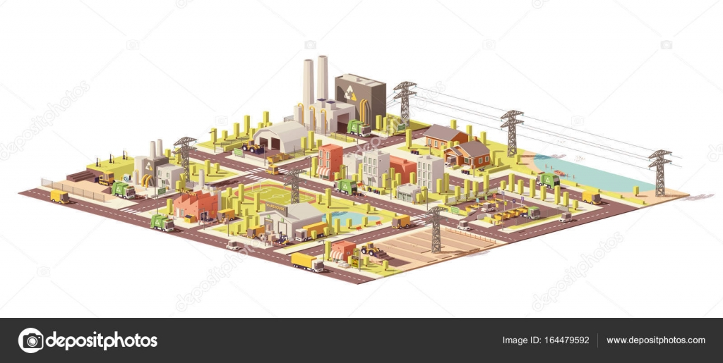 Vector low poly city waste management — Stock Vector © tele52 #164479592