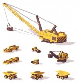 Photo Vector low poly mining machines