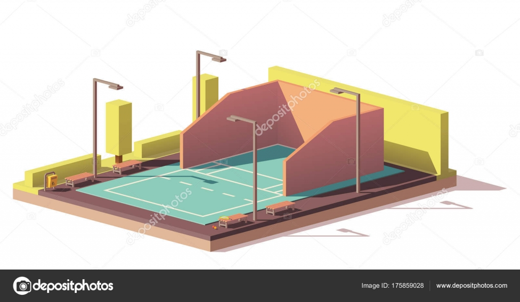 Vector low poly racquetball court stock vector tele52 for Average cost racquetball court