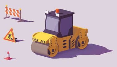 Vector isometric road roller