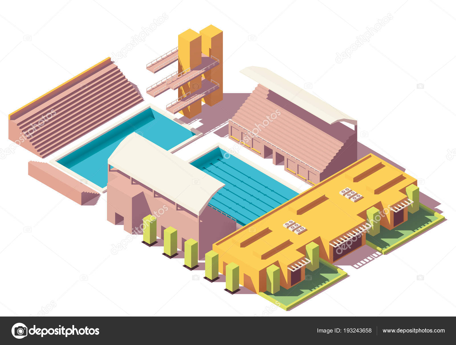 Vector isometric low poly swimming pool — Stock Vector © tele52 ...