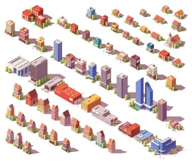 Vector low poly isometric buildings set