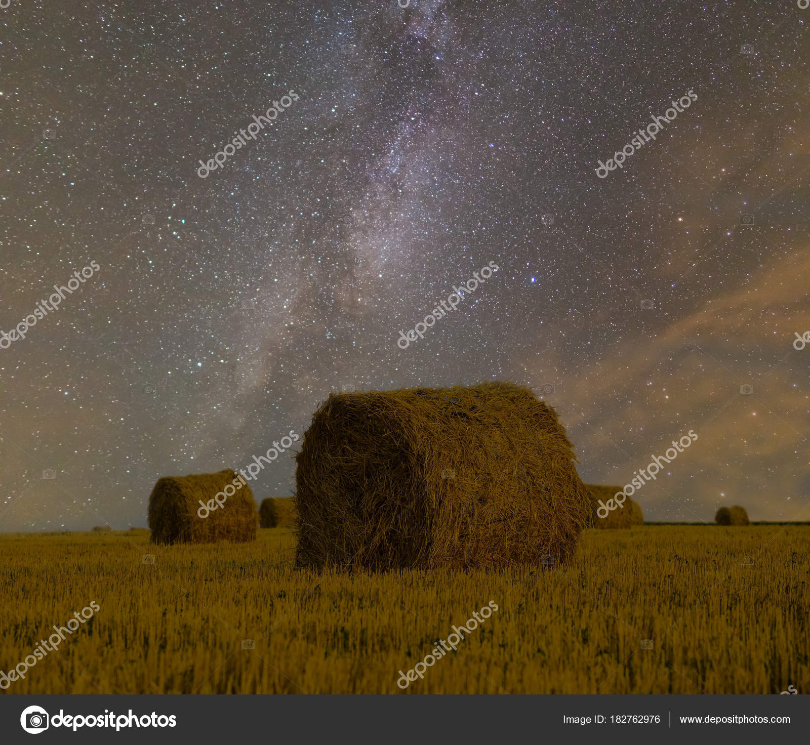 Night Summer Wheat Field Harvest Milky Way Background