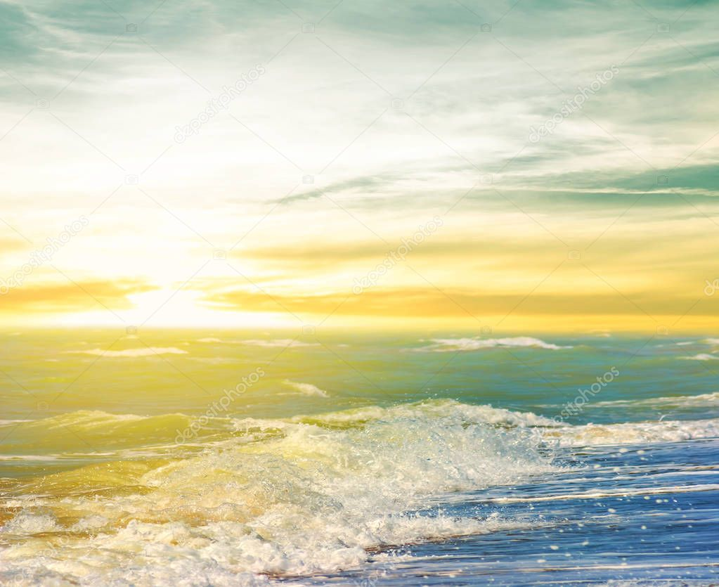 Фотообои summer sea beach at the sunset