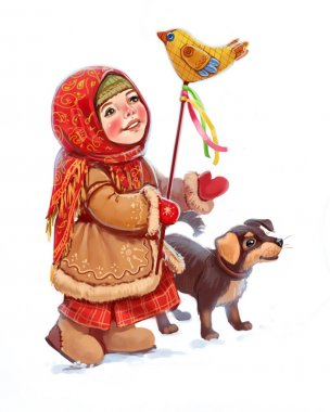 New Year, winter holidays, folk festivals, a girl with toy and dog, old russia stock vector
