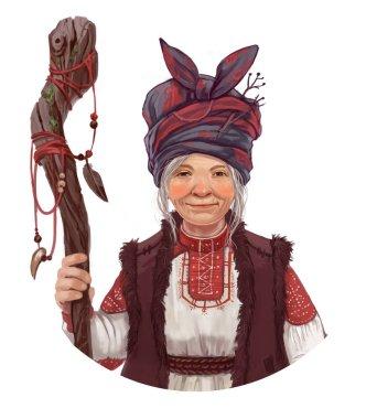Portrait old woman folk healer