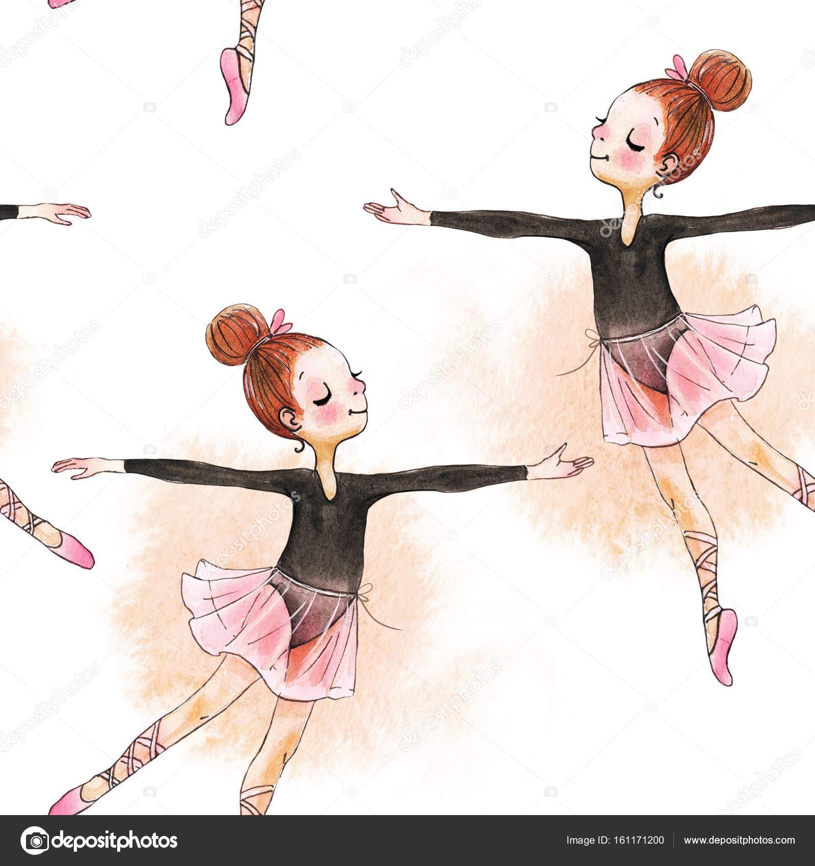 Patrón sin fisuras con acuarela bailarinas pequeñas — Fotos de Stock ...