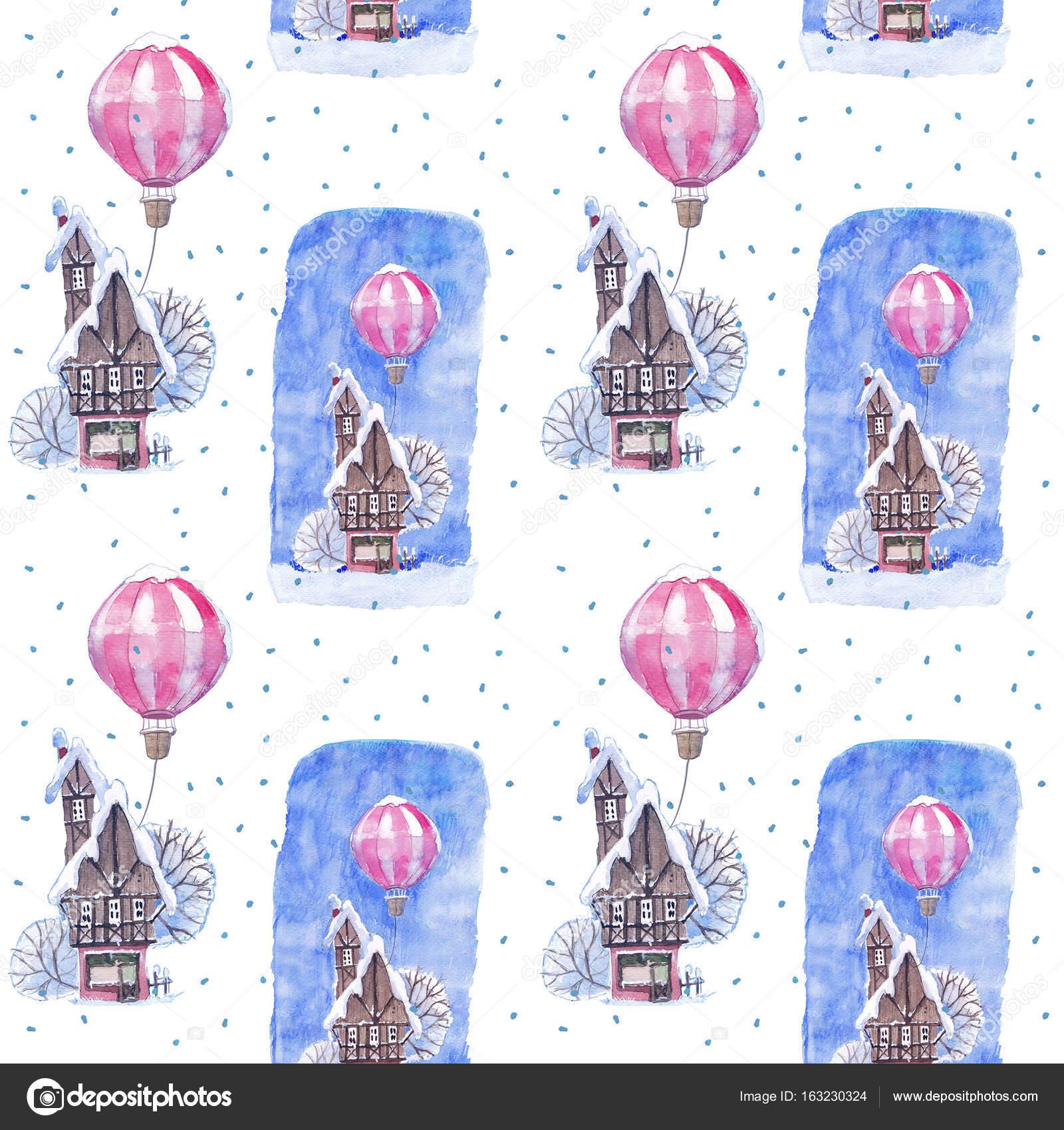Sulu Boya Dikişsiz Desen Kış Masal Evi Balon Ve Kar Stok Foto