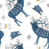 Vzor bezešvé s akvarel skandinávskými prvky. Sobů, hájovna, MAJVIVA, větve, mech, půlměsíce, jelen, rohy, národní ornament