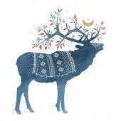 Akvarelu skandinávskými prvky. Sobů, hájovna, MAJVIVA, větve, mech, půlměsíce, jelen, rohy, národní ornament