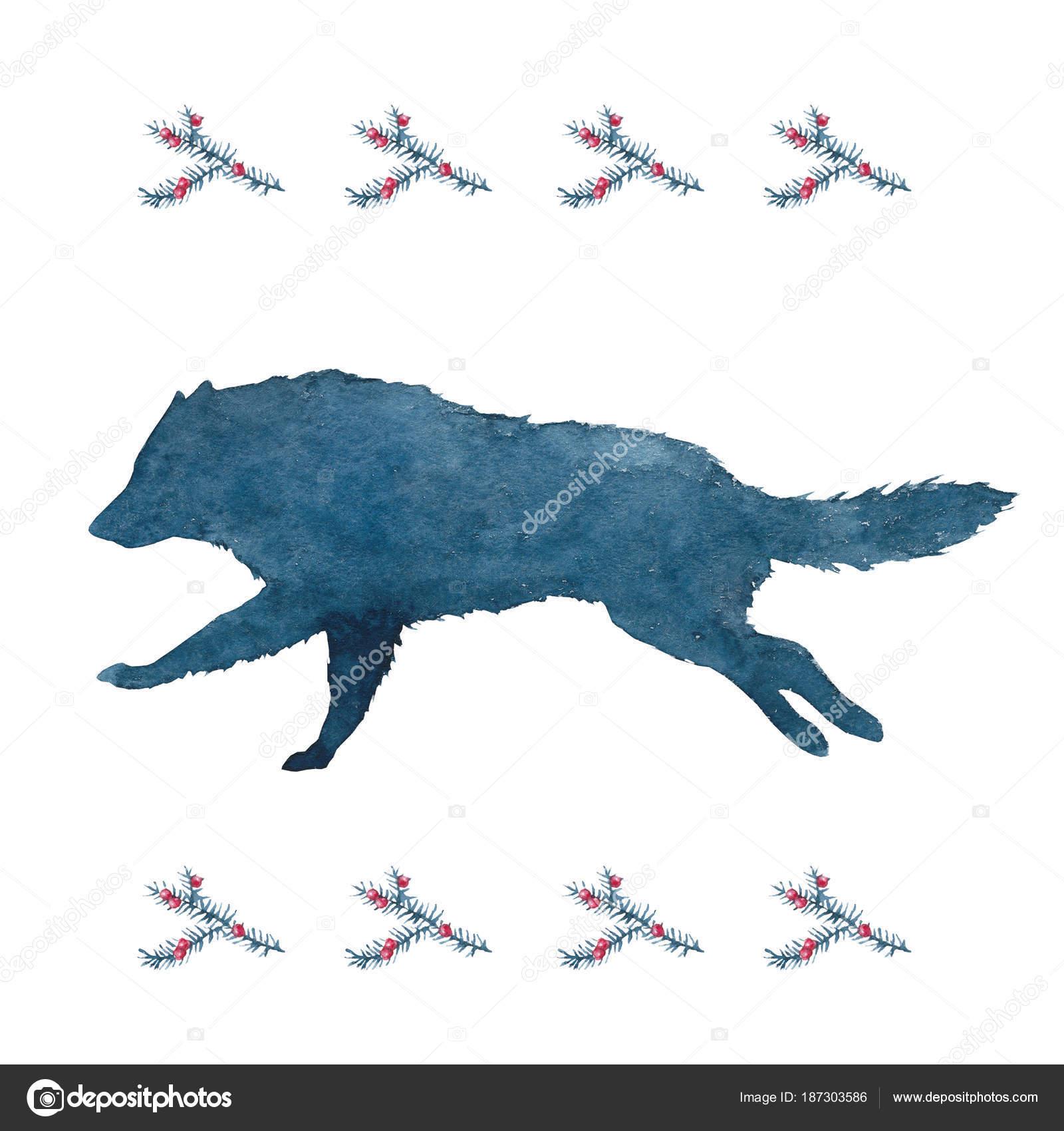 Lobo Aullando A La Luna Acuarela Acuarela Silueta Lobo Perro