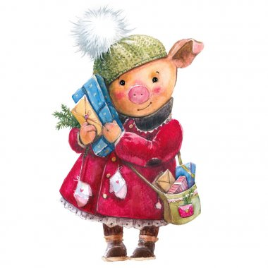 Christmas watercolor piggy, in a coat, a hat with gifts. New Year, postman, packaging, symbol of the year, 2019, postcard, invitation .