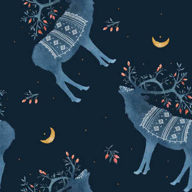 Seamless pattern with watercolor Scandinavian elements. Reindeer, forest house, wild berries, branches, moss, crescent, deer, horns, national ornament, snow, winter, wind.