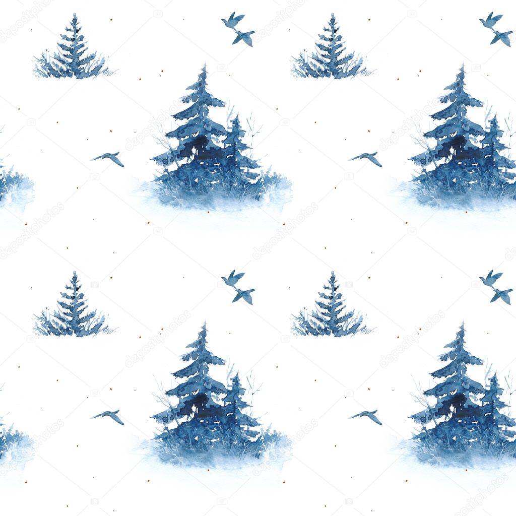 A seamless watercolor pattern with a mystical fairy-tale landscape, firs, birds in blue tones.