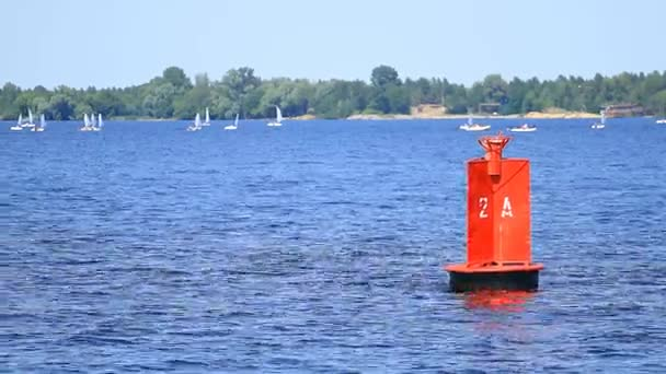 Red buoy and yachts