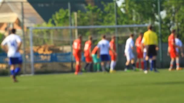 Fußballergebnisse Spieler aus einer Ecke in unscharf