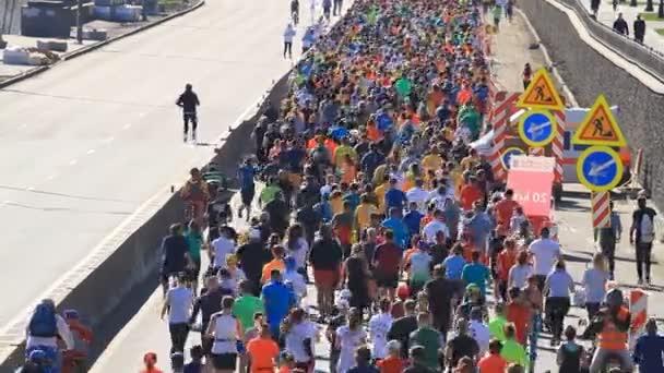 Kyiv, Ukraine - April 22, 2018: Nova poshta half marathon in Kyiv, Ukraine. The number of runners were more than six thousand people.