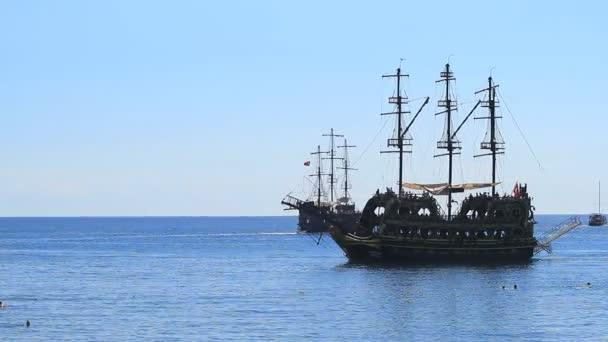 Kemer, Turkey - June 20, 2018: Pirate old frigate sails by sea In Kemer, Turkey.