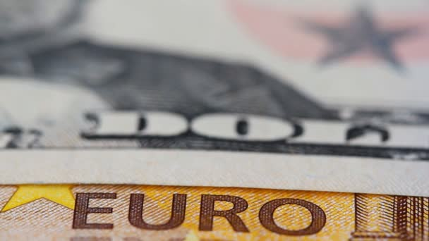 Banknotes of Euro and Dollar with a slider