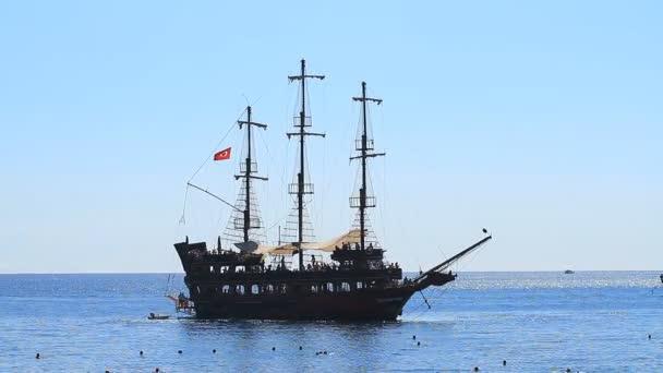 Kemer, Turkey - June 20, 2018:Cruise pirate ship backs up at sea in Kemer, Turkey