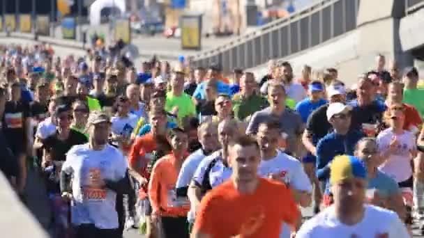 Kyiv, Ukraine - April 22, 2018:People run on city street marathon in Kyiv, Ukraine