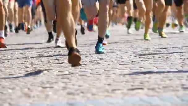 Athletes legs running half marathon in Kyiv