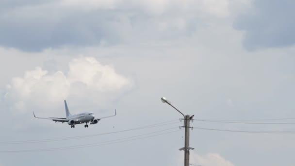 Kyiv, Ukraine - May 18, 2016:Passenger plane airline Fly Dubai lands at the airport Zhuliany in Kyiv, Ukraine
