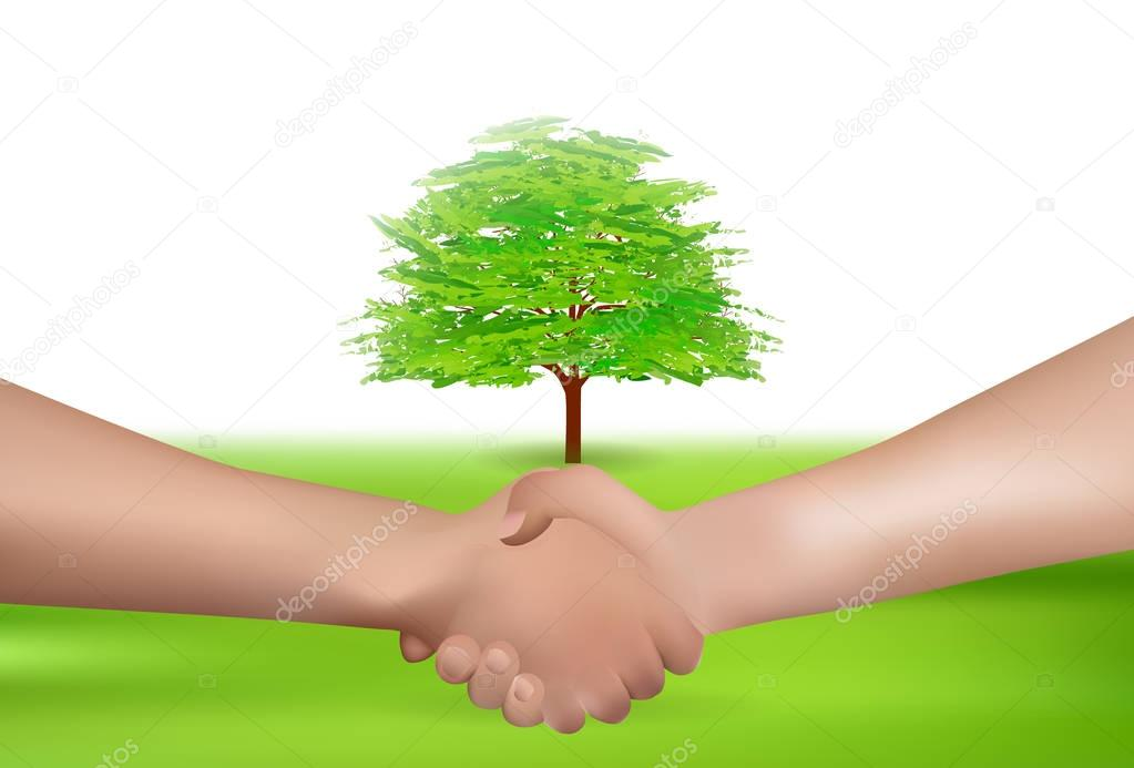Hand shake hands earth background
