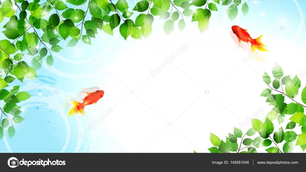 Peces de colores hojas de telón de fondo de verano — Vector de stock ...