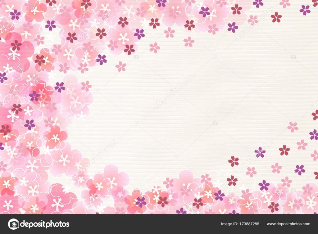 桜梅の花正月カード背景 ストックベクター Jboy24 173887286