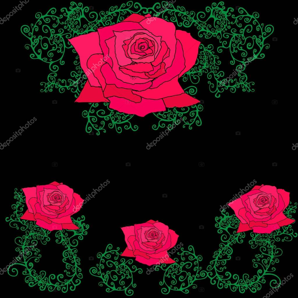 Roses in branches, leaves, decorative frame.