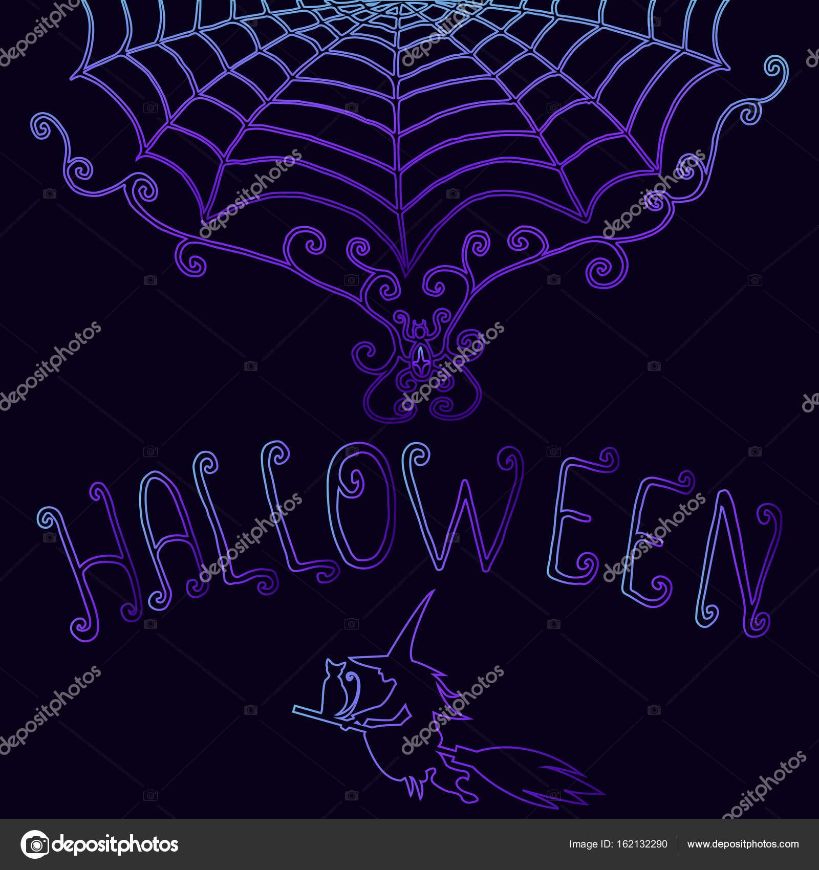 Fondo halloween, decorativo, cobweb, la bruja del gato escoba, texto ...