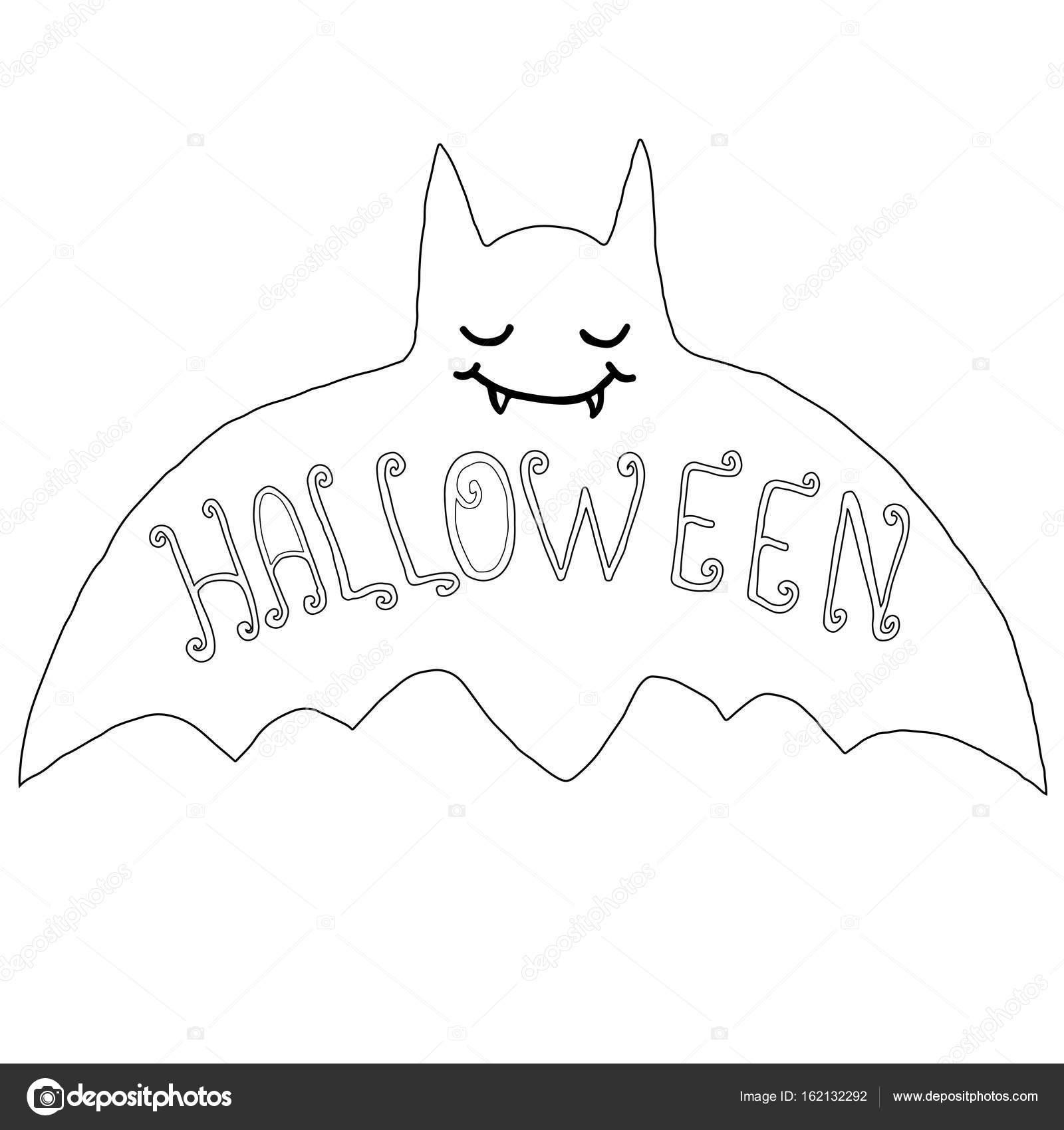 Schwarz / weiß glücklich Fledermaus, isoliert. Halloween-Abbildung ...