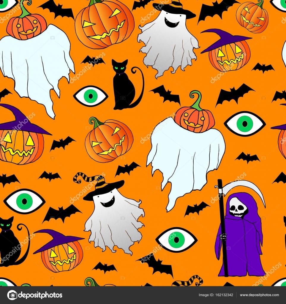 Sin fisuras patrón de halloween. Espíritu divertido, loco, la muerte ...