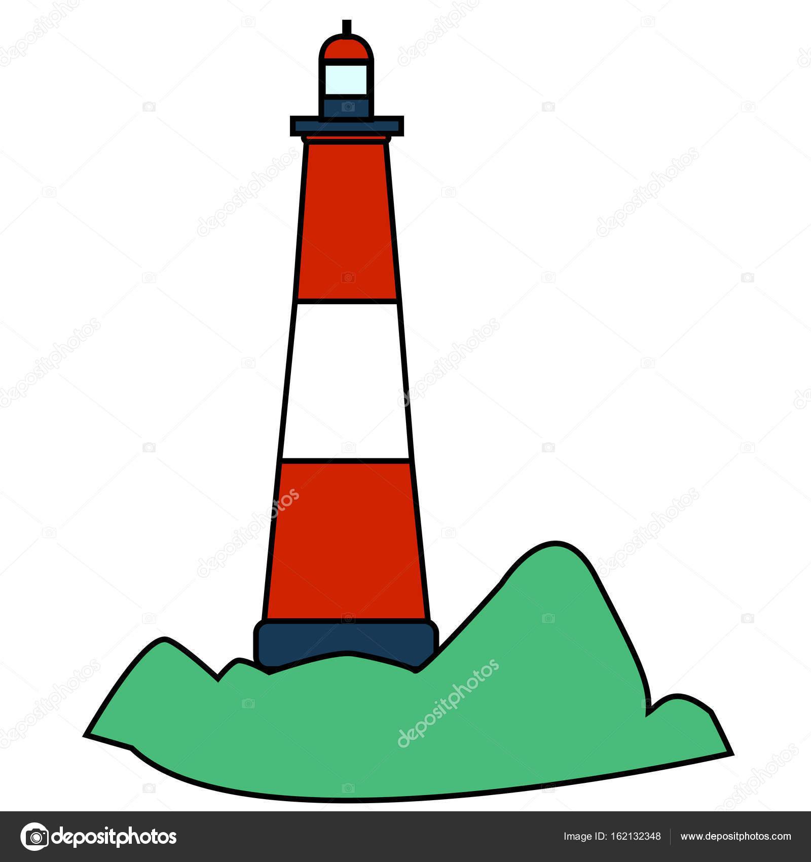 赤白、フラット島の灯台、分離 —...