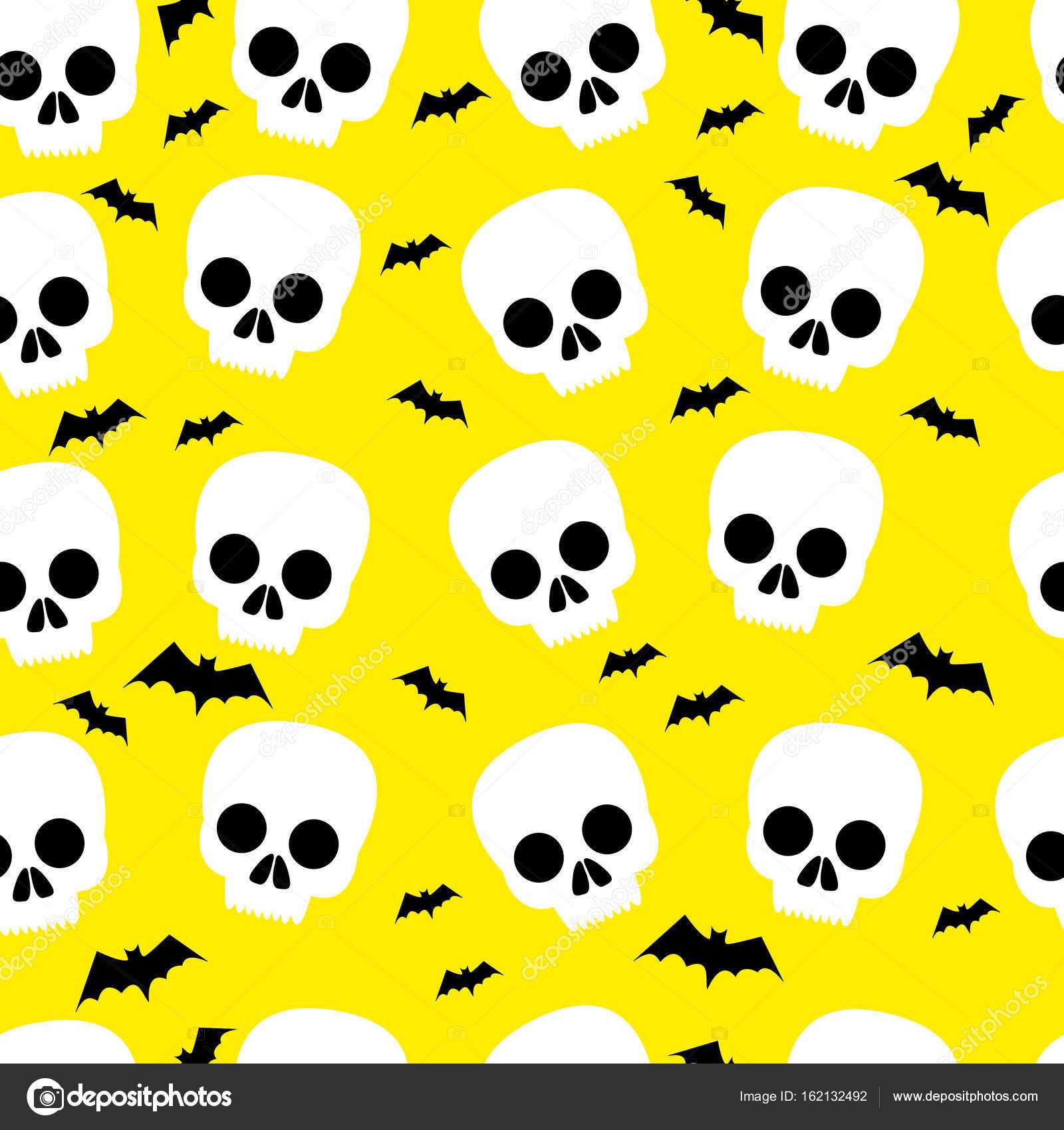 Curioso cráneo, bat, halloween, patrones sin fisuras, fondo amarillo ...