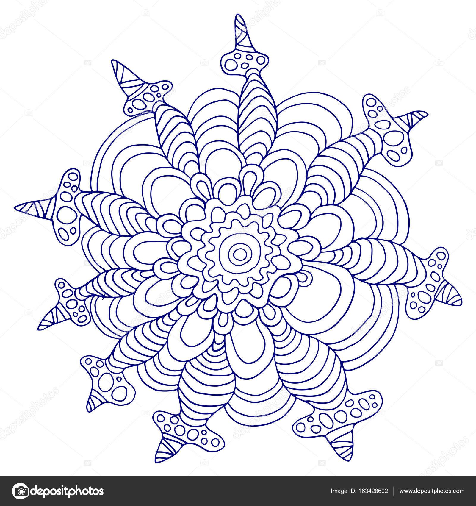 Fleur d corative pittoresque et tropicale contour bleu - Dessin contour ...