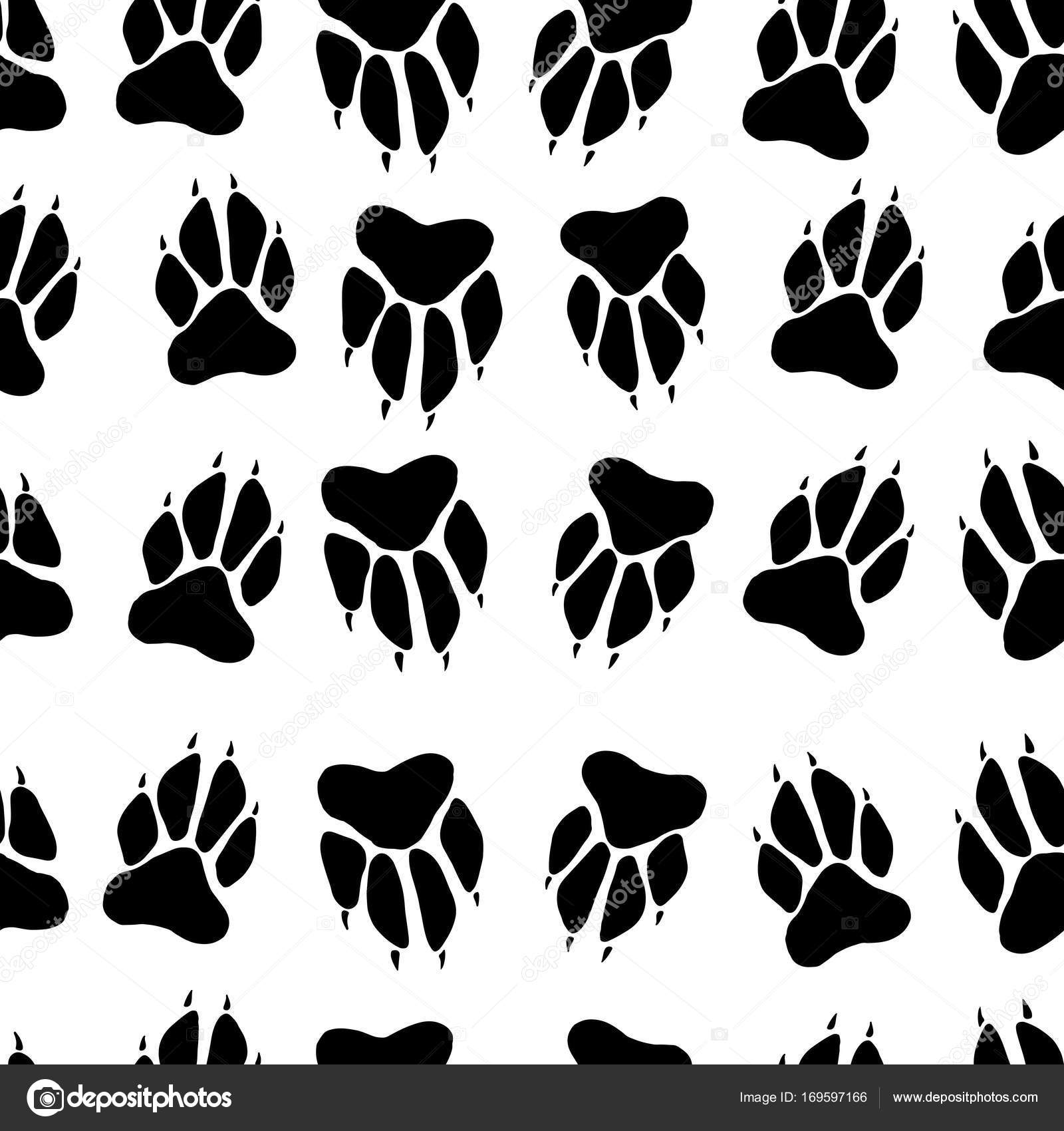 Draw Dog Paw Prints Black White Paw Print Dog Imprint