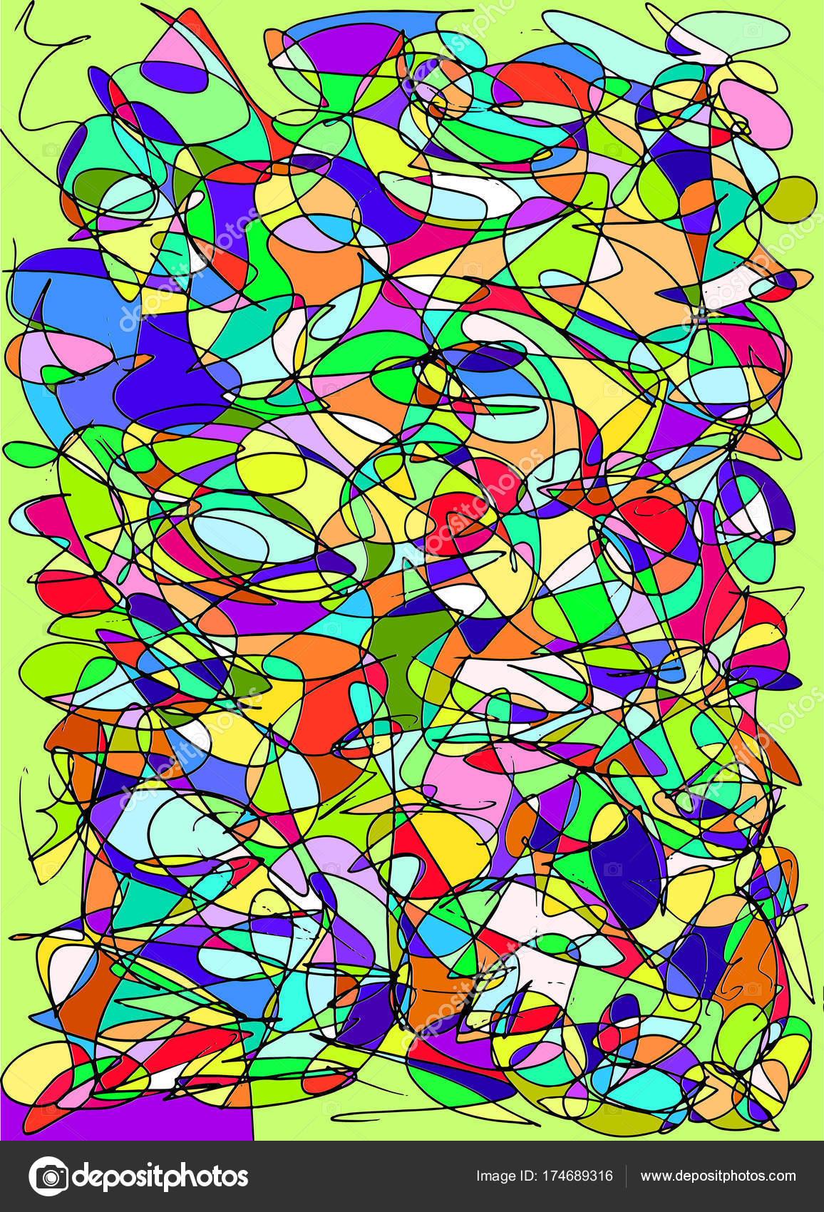 Garabatos abstractos patrón multicolor, manchado vidrio fondo ...