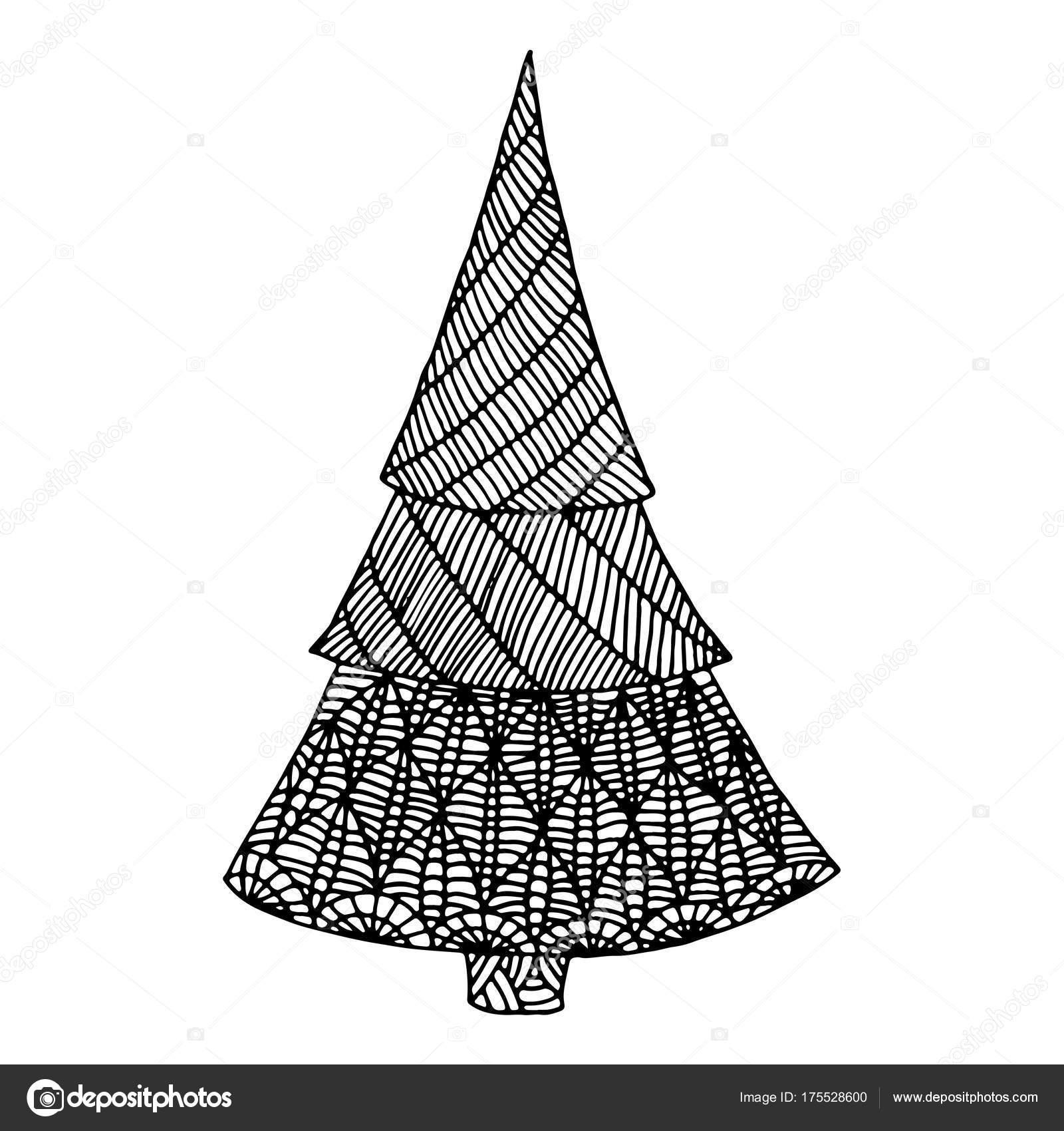 Sapin De Noël Décoratif Blanc Noir Doodle Image